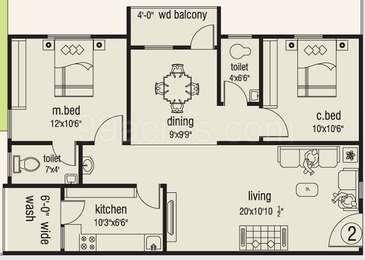 2 BHK Apartment in Sri Lakshmi Ganesh Ocean Greens