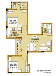 2 BHK Apartment in Greenfield City
