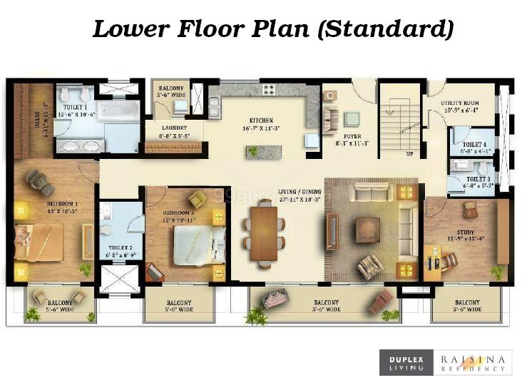 Tata housing tata louvre floor plan tata louvre sector for Duplex apartment floor plans