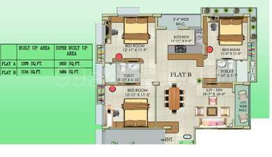 3 BHK Apartment in Tolly 22