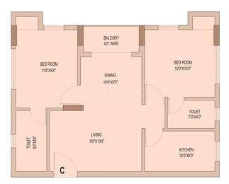 2 BHK Apartment in Unimark Springfield