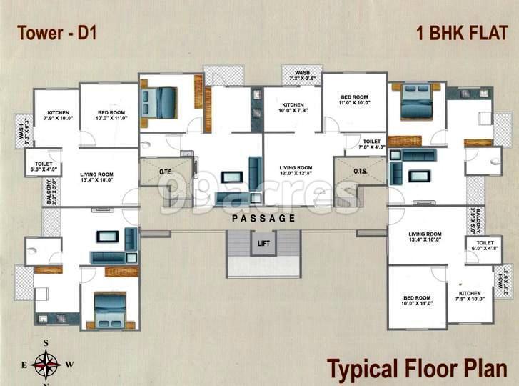 Maa Omkar Residency Typical Floor Plan