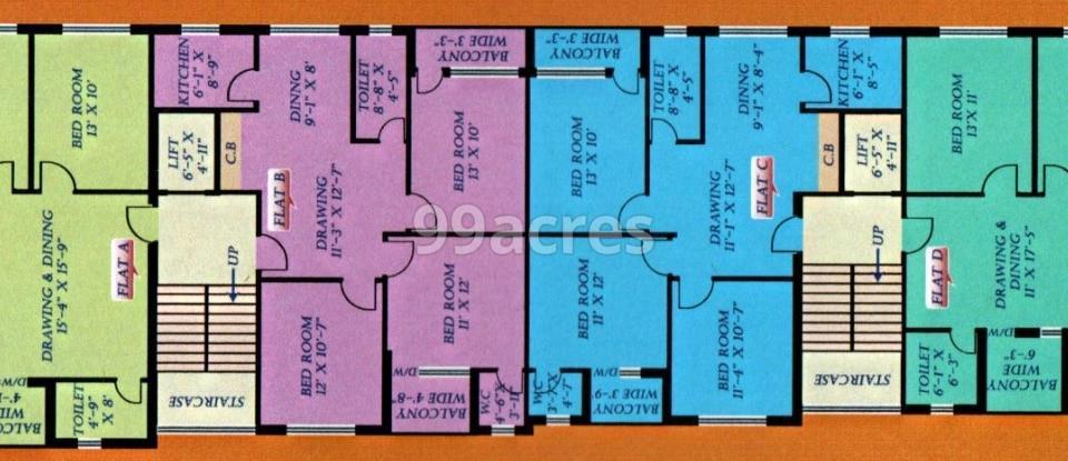 Royal Harakusum Apartment Typical Floor Plan