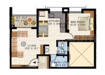 1 BHK Apartment in Vascon Citron Phase 1