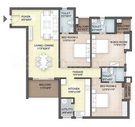 Hazel - 3BHK+3T(35), Super Area: 1603 sq ft, Apartment