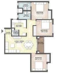 Hazel - 3BHK+2T(18), Super Area: 1229 sq ft, Apartment