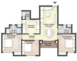 Hazel - 3BHK+2T(15), Super Area: 1182 sq ft, Apartment