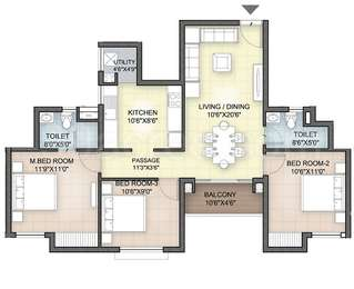 Hazel - 3BHK+2T(14), Super Area: 1180 sq ft, Apartment