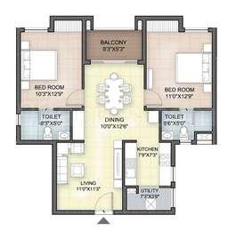 Hazel - 2BHK+2T(11), Super Area: 1062 sq ft, Apartment