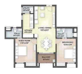 Hazel - 2BHK+2T(8), Super Area: 1057 sq ft, Apartment
