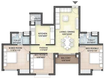 Hazel - 3BHK+2T(16), Super Area: 1183 sq ft, Apartment