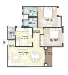Hazel - 2BHK+2T(12), Super Area: 1081 sq ft, Apartment