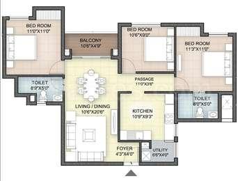 Hazel - 3BHK+2T(17), Super Area: 1214 sq ft, Apartment