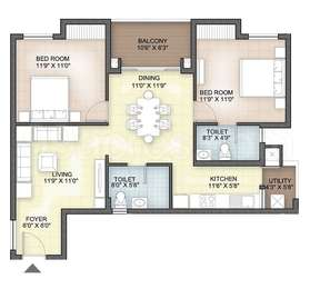 Hazel - 2BHK+2T(13), Super Area: 1107 sq ft, Apartment