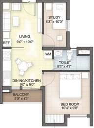 Hazel - 2BHK+2T(4), Super Area: 578 sq ft, Apartment