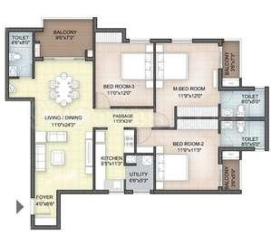 Hazel - 3BHK+3T(33), Super Area: 1589 sq ft, Apartment
