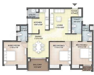 Hazel - 3BHK+3T(22), Super Area: 1488 sq ft, Apartment