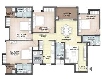 Hazel - 3BHK+3T(32), Super Area: 1587 sq ft, Apartment