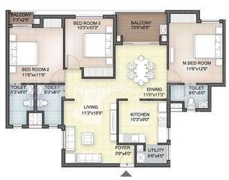 Hazel - 3BHK+3T(21), Super Area: 1451 sq ft, Apartment