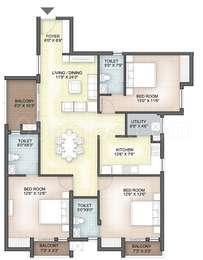 Hazel - 3BHK+3T(38), Super Area: 1647 sq ft, Apartment