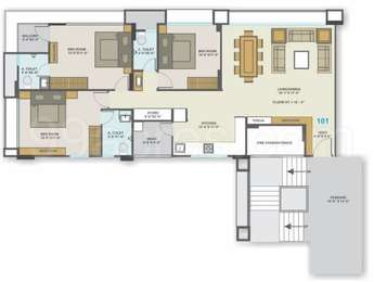 3 BHK Apartment in White Wings Flamingo